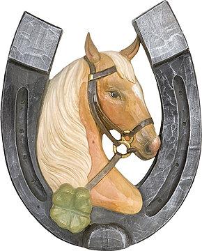 Hufeisen mit pferdekopf und vierklee aus holz geschnitzt - Hufeisen aus holz ...