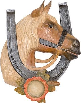 Hufeisen mit pferdekopf aus holz - Hufeisen aus holz ...